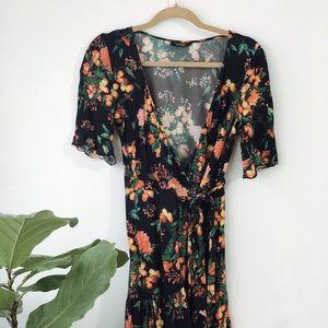 Zara multicolor tropical print wrap mini dress